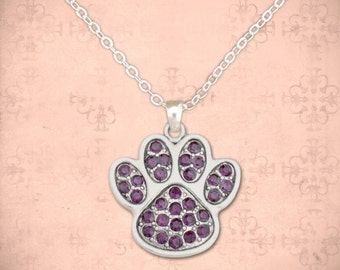 Purple Paw Print Necklace - 47910