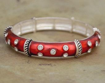 Red Olivia Stretch Bangle Bracelet - 57750
