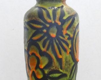 Bay Keramik Mid Century Chartreuse & Orange Incised Floral West German Vase