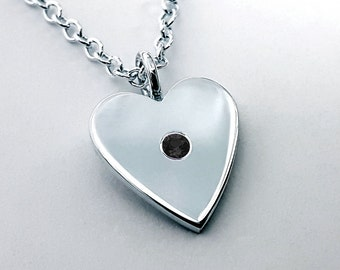 Black Spinel Heart Necklace Pendant Sterling Silver - Sterling Heart Necklace, Sterling Silver Heart Necklace, Sterling Silver Heart Pendant