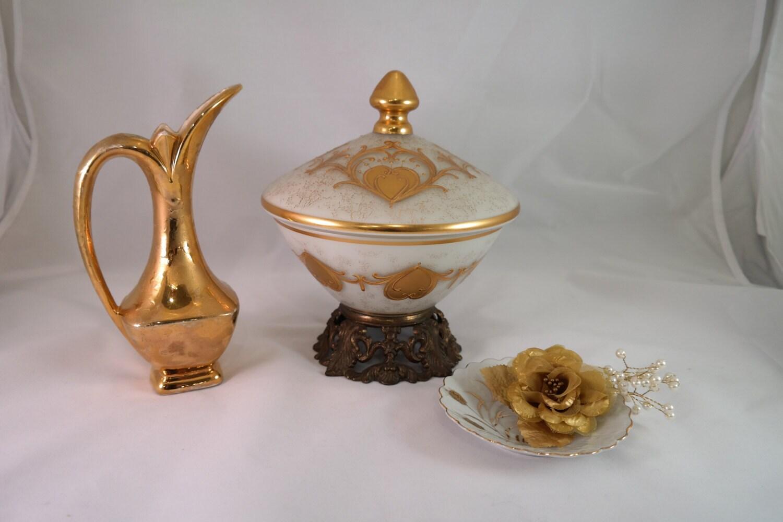 Vintage GOLD Home Decor Satin Gold Bowl And Vase Shabby