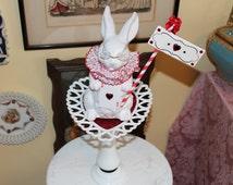 Wonderland Mad Hatter / White Rabbit / Queen of Hearts Assemblage Art Centerpiece, Vintage Lefton White Rabbit Art Piece