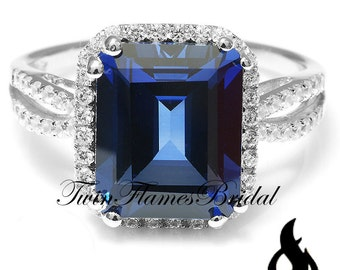 Blue Sapphire Engagement Ring | Blue Sapphire Wedding Ring 11x9mm 6ct Emerald Cut Halo Ring Fine Lab Grown Blue Sapphire Size 6 7 8 9 #829