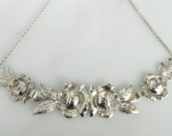 Beautiful Vintage Sterling Silver Rose Hand Wrought Necklace