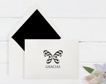 "Boxed Spanish Thank You Cards with Crystal Embellishment ""Gracias"" - 6 notecards and Envelopes (4 bar size)"