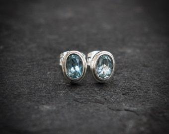 Blue Topaz Earrings, Silver Stud Earrings, November Birthstone, Faceted Stone, Gemstone Jewellery, Semi Precious, Sterling Silver