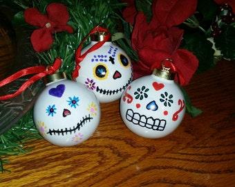 Hand painted Porcelain Sugar Skull Ornaments  / Set of Three