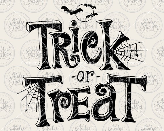 Trick or Treat Vector Halloween by TheSmudgeFactoryLLC on Etsy