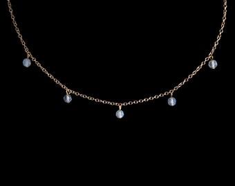 Tiny Opalite Droplet Necklace - Gold Silver Minimalist Necklace White Stone Necklace Dangly Necklace Droplet Choker Dainty Boho