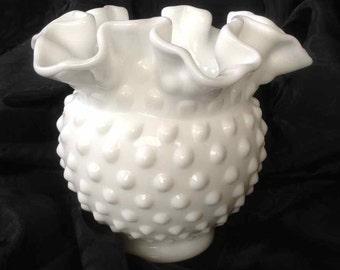 Vintage Fenton Hobnail Crimped Edge and Footed Milk Glass Vase - 1970's
