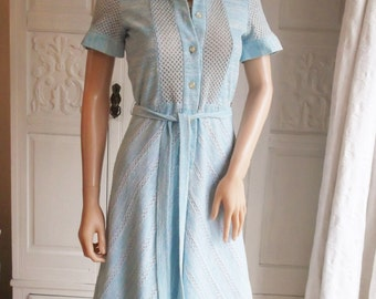 Vintage  1960s  Patex  retro, pale blue lacy jersey fine knitted dress mod dress secretary dress, button front,  10% silk A1008