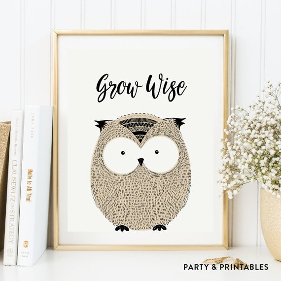 Instant Download, Grow Wise Printable Wall Art, Owl Wall Art, Owl ...