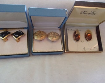 Clip Earrings- Vintage- 3 Pair-Original box