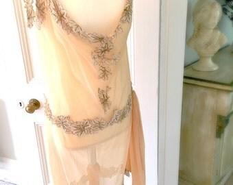 Antique 1920s Stunning Georgette Flapper Dress Vintage Wedding Dress
