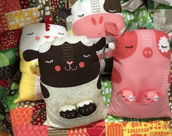 IN STOCK!! Farm Fun Farm Animal Fabric Panel by Stacy Iest Hsu for Moda 100% Cotton Pig, Cow, Sheep, Chicken