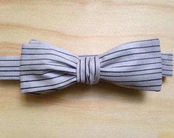 Grey and Black Pinstripe self-tie bowtie