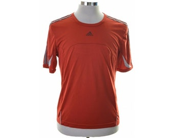 Adidas Mens T-Shirt Top Medium Red Polyester