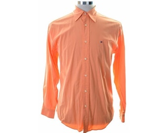 Tommy Hilfiger Mens Shirt Small Orange Cotton Spandex Loose Fit