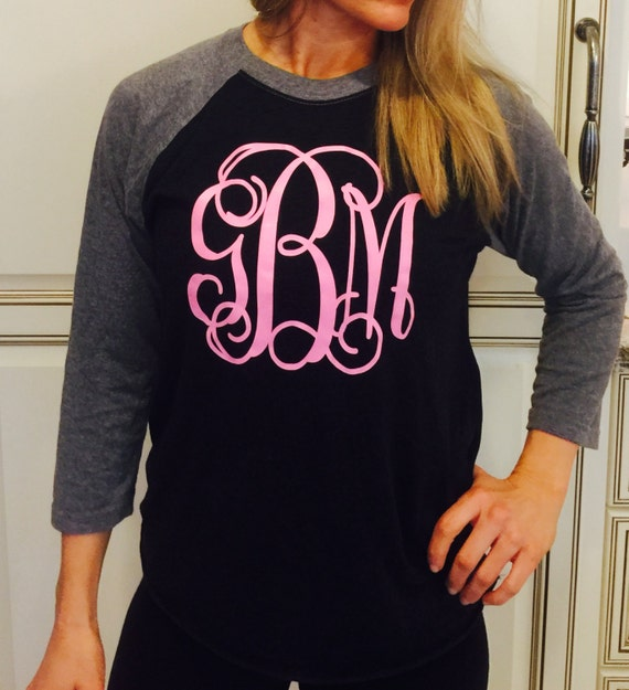 Women 39 s raglan 3 4 sleeve shirt with monogram monogrammed for Initials on dress shirts
