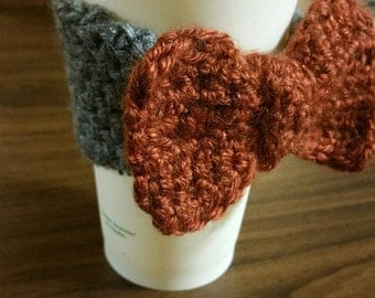 Crochet Bow Coffee Cup Cozy