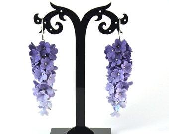 Lavender earrings - Lilac dangle earrings - Polymer clay - Floral earrings - Long earrings - Dangle earrings flowers bunch