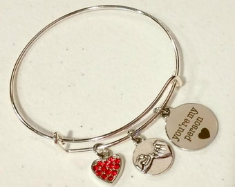 Your My Person - bangle bracelet - charm bracelet - Pinky Swear - Best friend - gift for her - gift for friend - Christmas gift - friendship