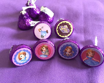 Sofia the First Hershey's kisses labels, envelope seals, party favors