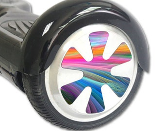Skin Decal Wrap for Hoverboard Balance Board Scooter Wheels Rainbow Waves