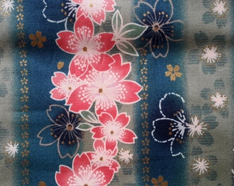 Cherry blossoms. Green stripe. Japanese fabric. Japanese cotton fabric. Fabric by half yard or half meter.