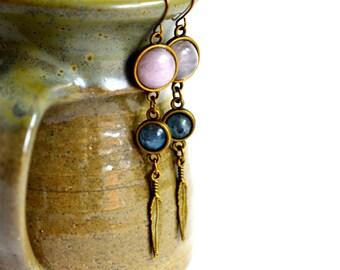 Rose Quartz and Kyanite Gemstone Earrings, Kyanite earrings, boho earrings, brass earrings, long earrings, tribal earrings, feather jewelry