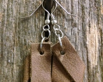 Brown Suede Leather Earrings