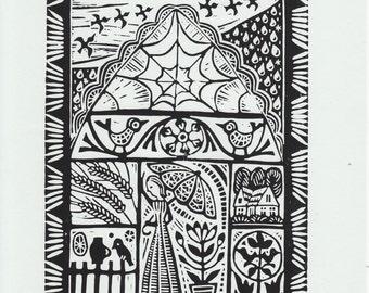 "Original Linoleum Printmaking ""Autumn"" by Lithuanian folk artist Odeta Brazeniene"