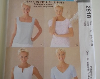 Summer blouse / tops / Princess seams / V Neck / scoop neck/ boat neck top 2007 sewing pattern, Bust 32 34 36, Size 10 12 14, McCalls 2818