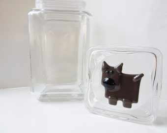 Dog Cookie Treat Jar, Brown Pointy Ear Fused Glass Dog, Doberman Lover Gift, Min Pin Dobbie Biscuit Container, Countertop Storage Idea