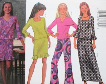 Butterick 3218 ~ Girls' Pullover Knit Top with Below-Elbow Sleeves, Straight Skirt or Boot-Legged Pants SIZE 7-8-10 UNCUT Sewing Pattern