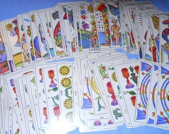 reduced - vintage 1736 Spanish tarot cards in English translation