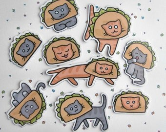 Refrigerator Magnets, Cat Magnets, Taco Magnet, Cats in Taco Hats, Fridge Magnets, Kitchen Decor, Funny Magnets, Silly Magnets