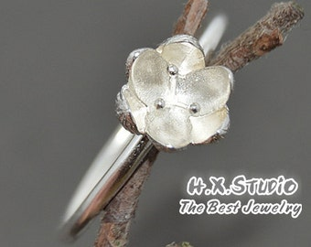 Handemade Sterling Silver Magnolia Flower Ring, Handmade 925 Silver Ring, Personalized Sterling Silver Ring, Wholesale Available