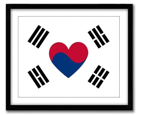 Korean Love Flag Art Print