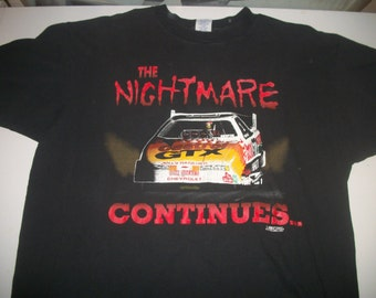 "John Force NHRA team shirt 1993 ""the Nightmare continues"""