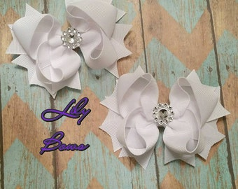 White Pigtail Bows