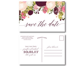 PRINTABLE Save the Date Postcard, Printable Save the Date, Wedding Save the Date, Save-the-Date, Wedding Postcard, Save our Date #CL113