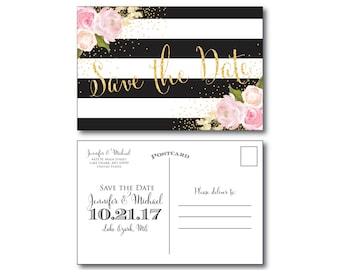 Black & White Wedding Save the Date - Stripes - Gold Glitter - Watercolor Flowers - Flowers Wedding - Save the Date - Wedding Postcards