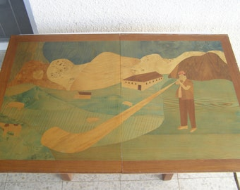 RARE large two parts handmade marquetry inlaid wood mosaic wall art veneer