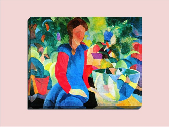 Girl with Fish Bowl by Macke | Mirror Wrap Professional Canvas v-2