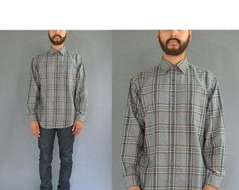 ON SALE L.L. Bean Plaid Long Sleeve Button Up Shirt - Vintage L.L. Bean Shirt - Medium