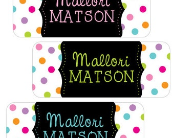Name Labels Girl, Baby Bottle Labels, Personalized Waterproof Name Labels, School Name Labels,  Daycare Labels, Polka Dot Labels
