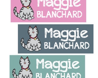 Waterproof Cat Stickers for Back to School Supplies, Daycare, Baby Bottles, Sippy Cups. Personalized Name Labels that are dishwasher safe