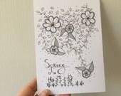 """In kleur - Ansichtkaart """"spring is in the air"""""""