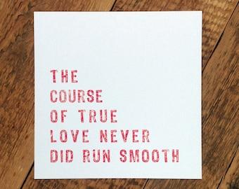 Anniversary Card; 'Love Never Did Run Smooth'; Love Card; I Love You Card; Wedding Anniversary; GC341